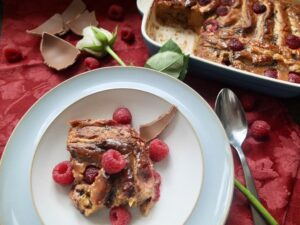 Chocolate Brioche Pudding with Raspberries