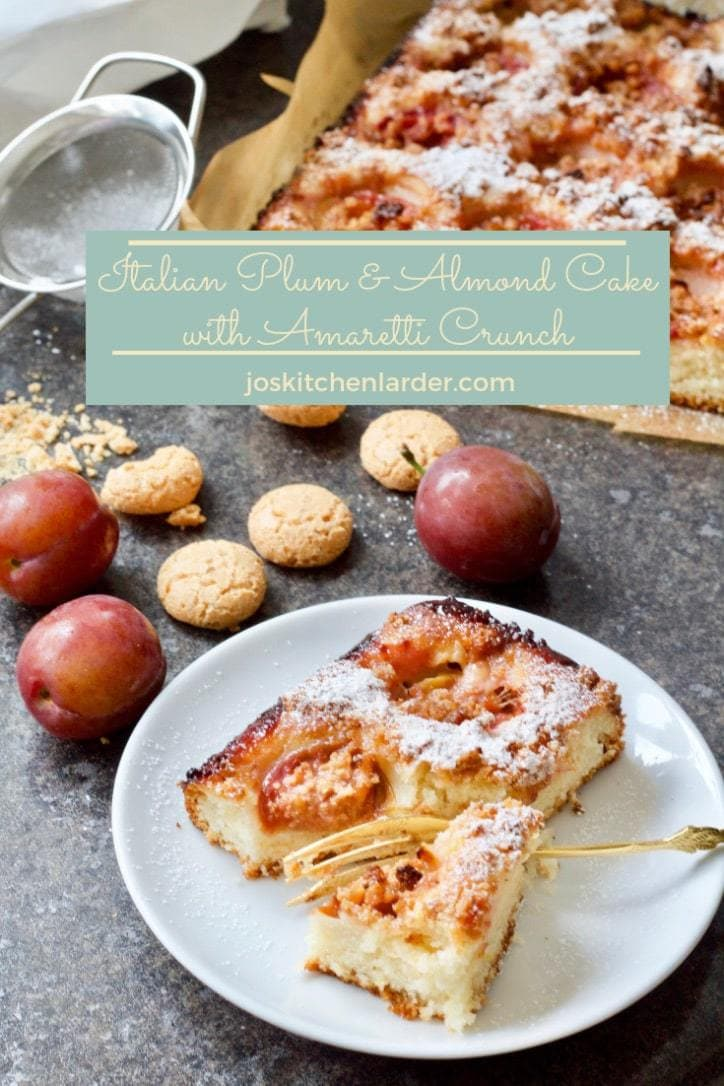 Perfect cake to celebrate change of seasons. Delicious plums, almonds and crunchy amaretti biscuits topping - heaven! #plumcake #almondcake #amarettibiscuits