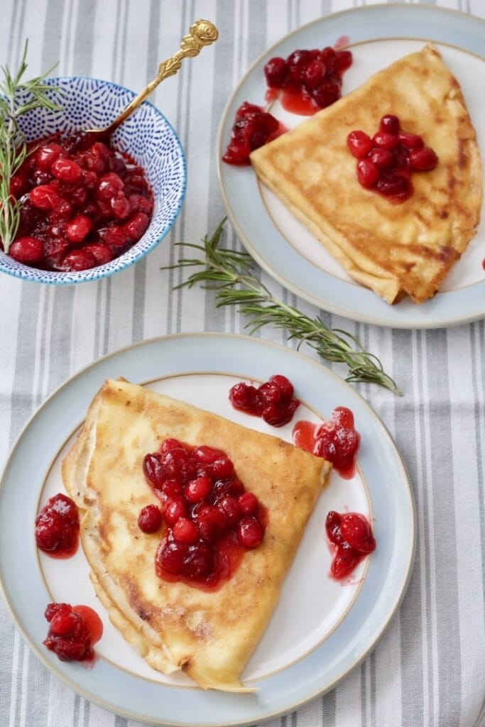 Pancakes (Crêpes) with Mascarpone & Cranberry Compote