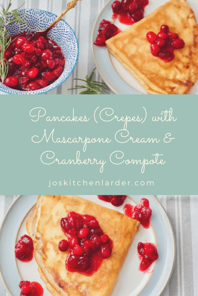 Pancakes (Crepes) with Mascarpone Cream & Cranberry Compote