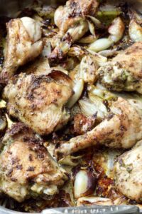 Roast Chicken with Wild Garlic Pesto & Shallots