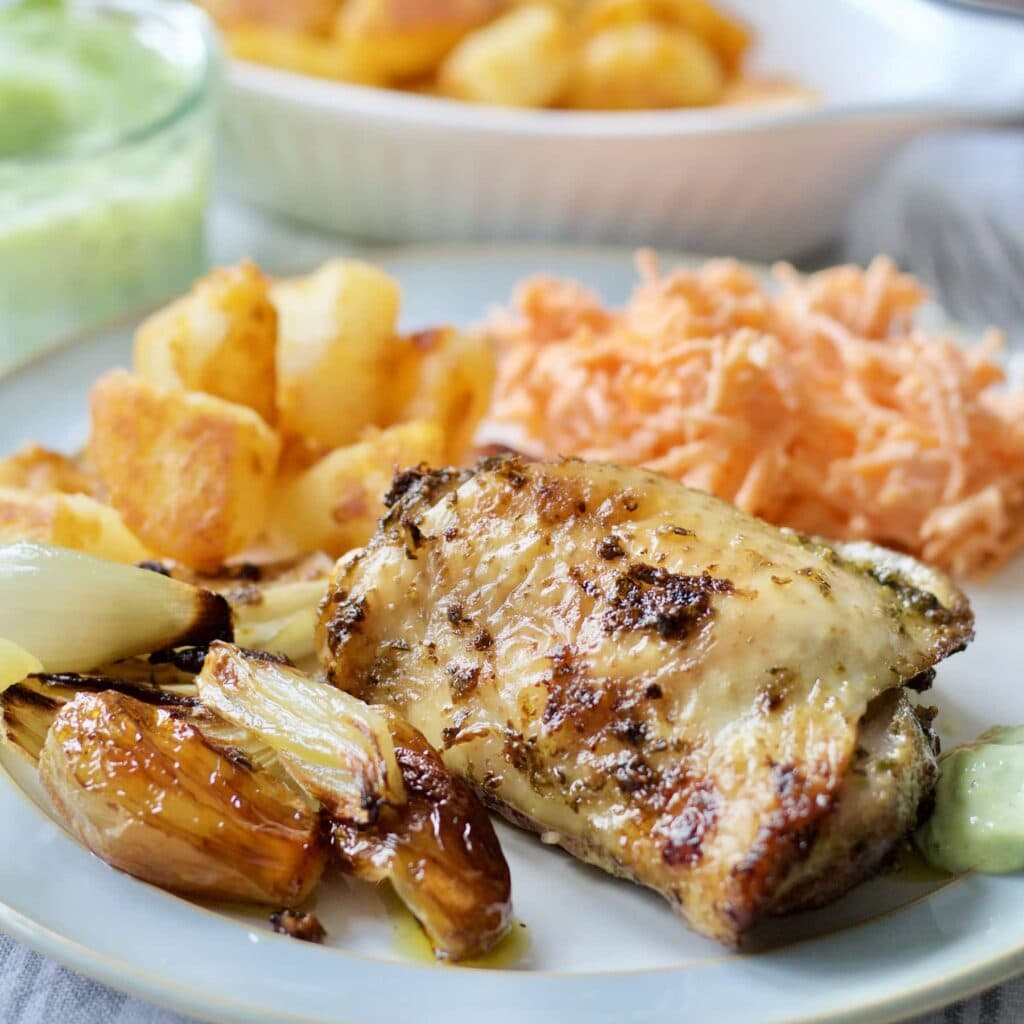 Roast Chicken with Wild Garlic Pesto & Shallots