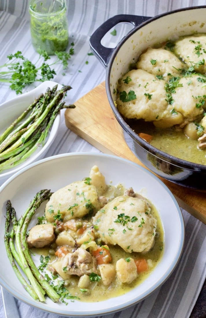 Wild Garlic Chicken Stew with Cheesy Dumplings plated up