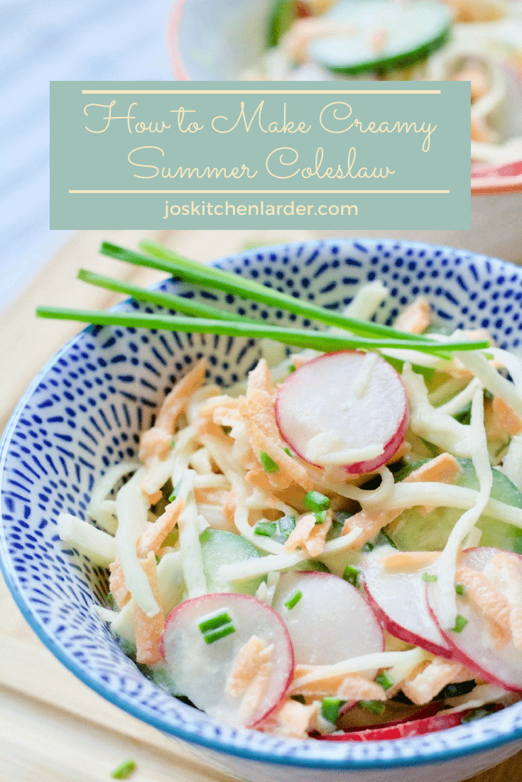 Creamy Summer Coleslaw with crunchy radishes and cucumber next to the usual suspects, covered in most delicious, creamy mustard dressing! Perfect salad! #coleslaw #sidedish #salad #picnicfood