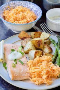 Easy One-Pan Salmon & New Potatoes Bake