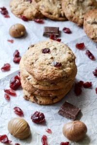Dark Chocolate Cranberry Chestnut Cookies