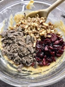 Cookie mix with nuts, chocolate & cranberries added.