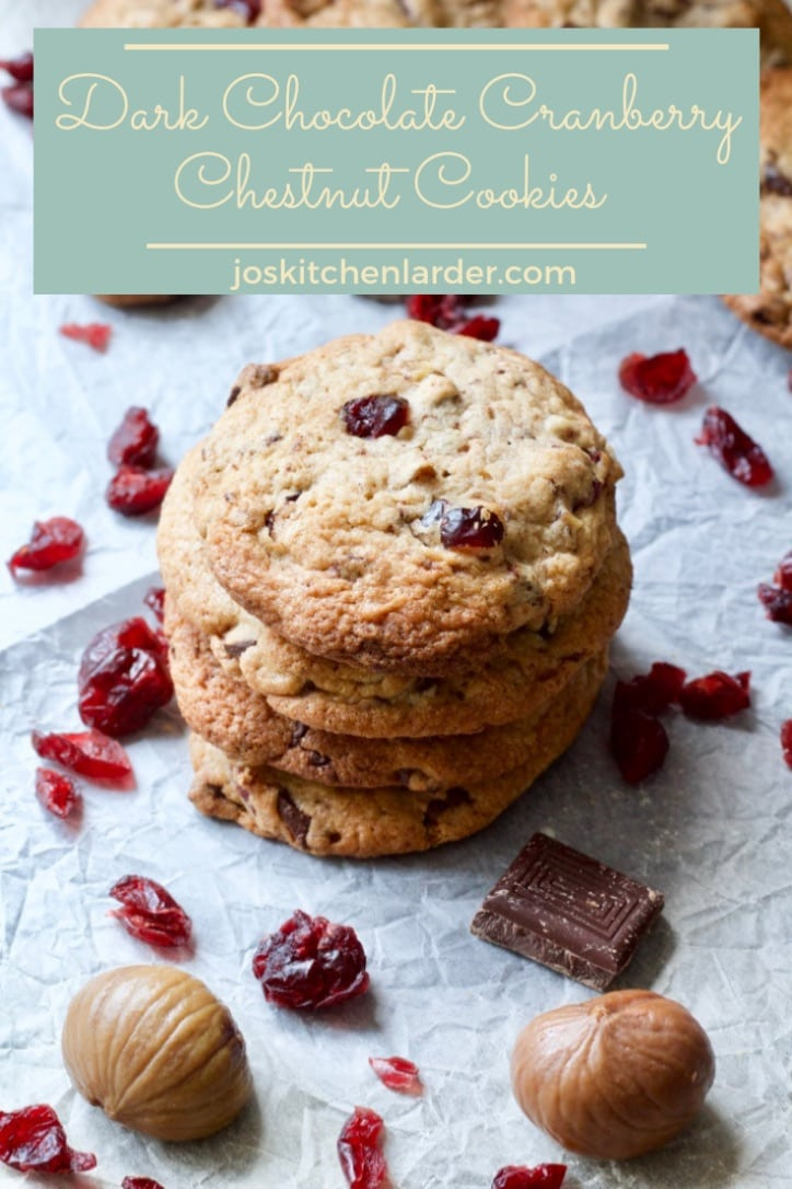 Soft & chewy these Dark Chocolate Cranberry Chestnut Cookies are simply delightful. Perfect Christmas/Winter cookies that won\'t last long in the cookie jar! #Christmas #chocolatechipcookies #cranberrycookies #softcookies #chewycookies #winterbaking