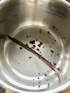 Vanilla Crème Brûlée - seeds and pod in an empty pan