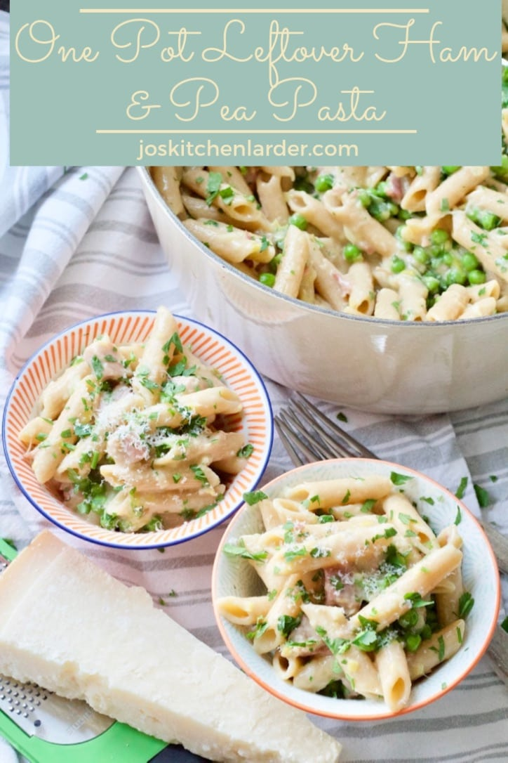 This One Pot Leftover Ham and Pea Pasta makes quick and easy, midweek family meal with minimum effort. Delicious way of putting leftovers to a good use. #onepot #pasta #leftovers #ham #midweekmeal