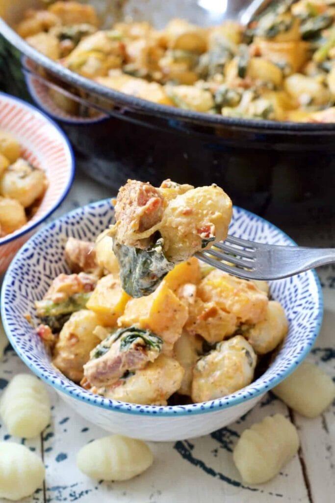 Easy Butternut Squash & Chorizo Gnocchi - bite of the dish on the fork
