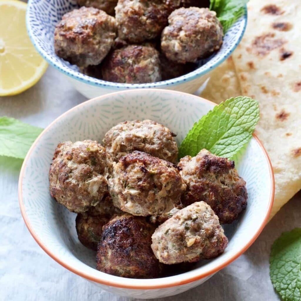 Easy Lamb Kofta Meatballs in a bowl close up