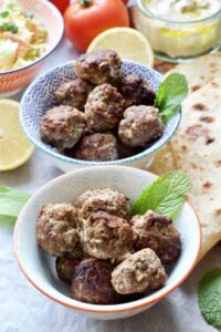 Easy Lamb Kofta Meatballs in serving bowls