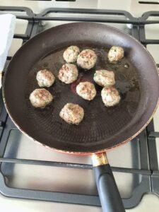 Easy Lamb Kofta Meatballs - searing on the pan