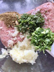 Easy Lamb Kofta Meatballs - adding chopped parsley to the mixture