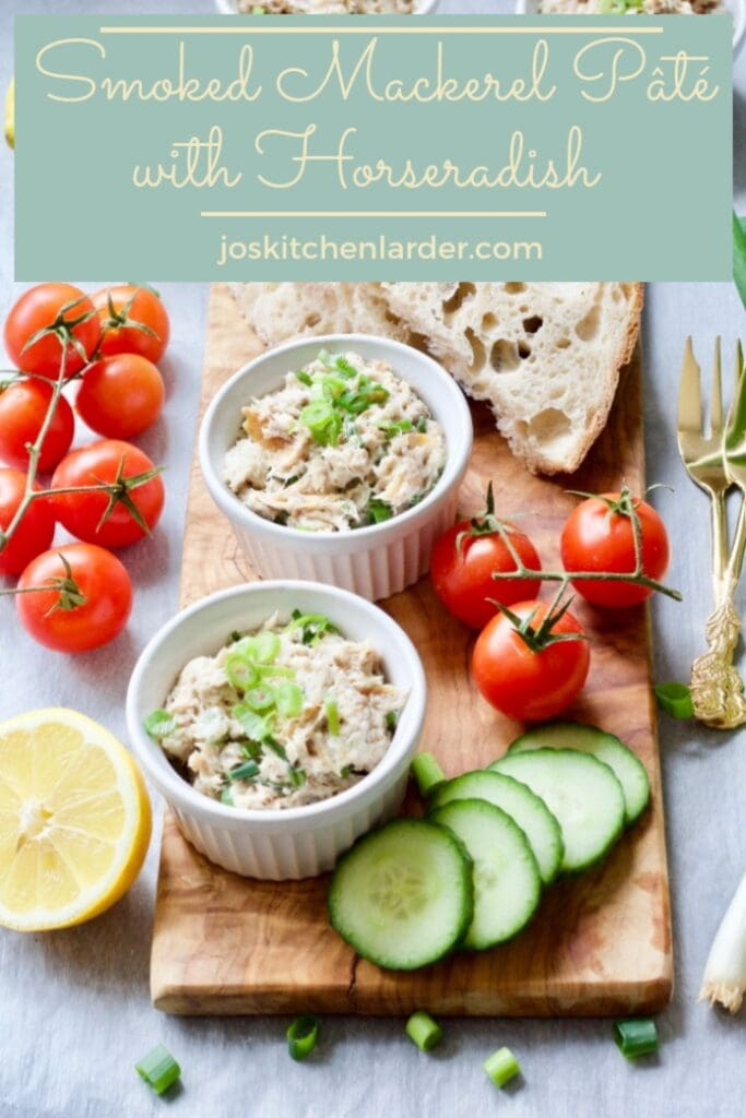 Smoked Mackerel Pate Pin - pate in ramekins on serving board with bread and veg garnishes