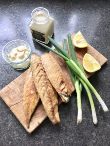 Smoked Mackerel Pate - all the ingredients laid out on the board