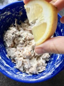 Smoked Mackerel Pate - lemon juice being added to the mackerel