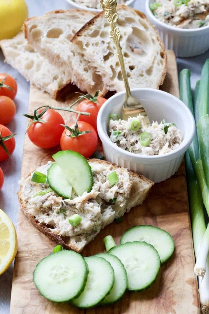 Smoked Mackerel Pate - Serving suggestion, pate spread on slice of sourdough