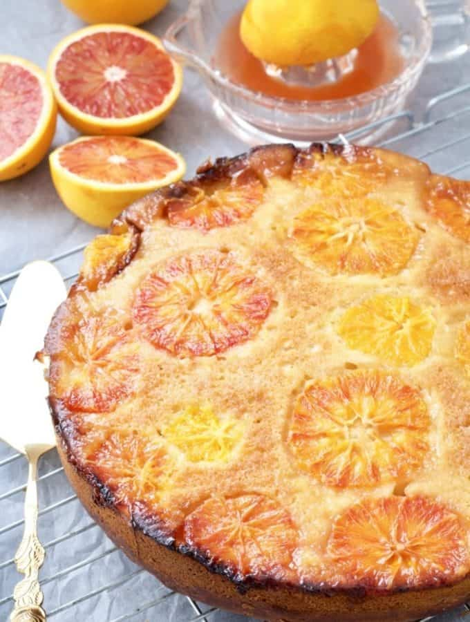 Easy Blood Orange Upside-Down Cake - whole cake on a cooling rack
