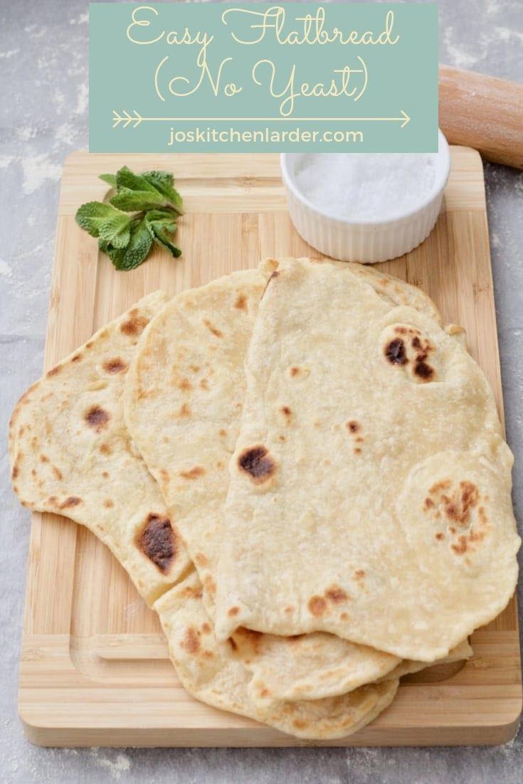 This Easy Flatbread (No Yeast) makes a superb side to anything from curries, falafels to koftas & kebabs. Soft, pliable & quick to make too with barely any kneading. It\'s everybody\'s favourite! #flatbread #noyeast #noknead #sidedish #softflatbread #easyrecipe