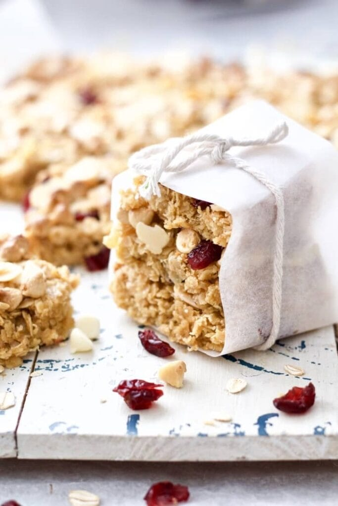 Chewy Cranberry Flapjacks (Granola Bars) wrapped