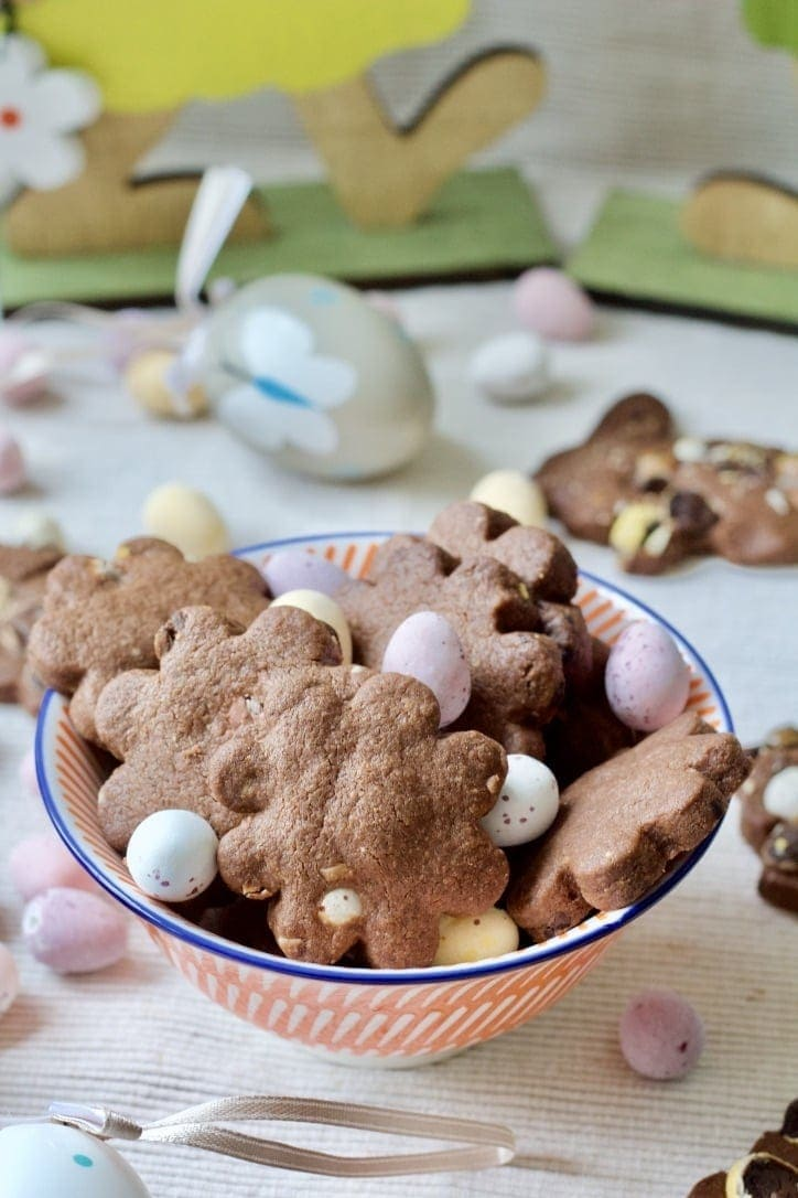 Chocolate Shortbread Cookies with Mini Eggs in a bowl