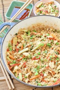 Vegetable Egg Fried Rice in a pan