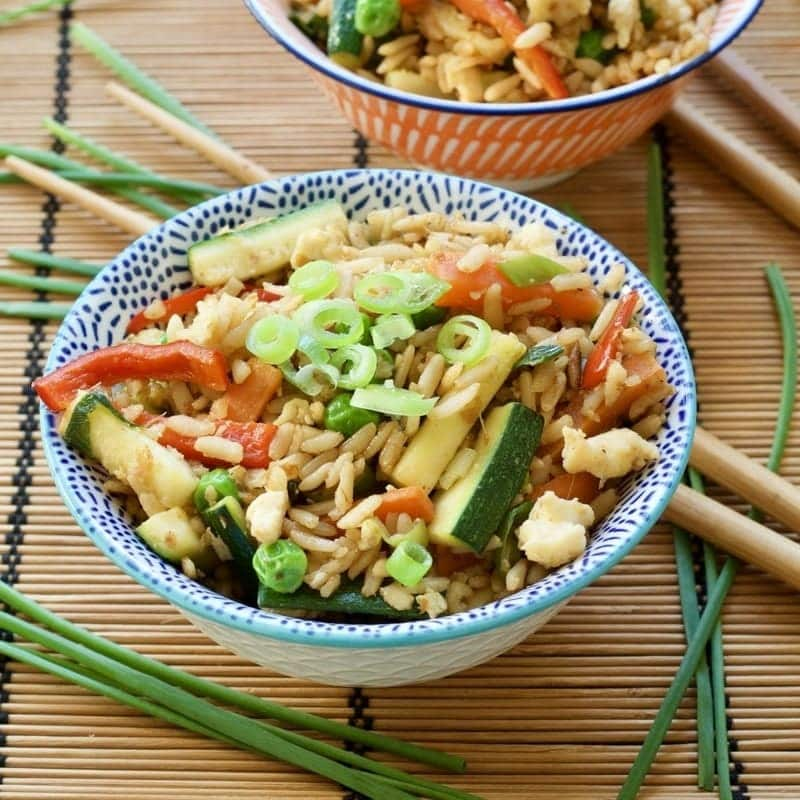 Vegetable Egg Fried Rice in a bowl