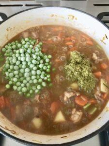 Wild Garlic Chicken Stew with peas and pesto added