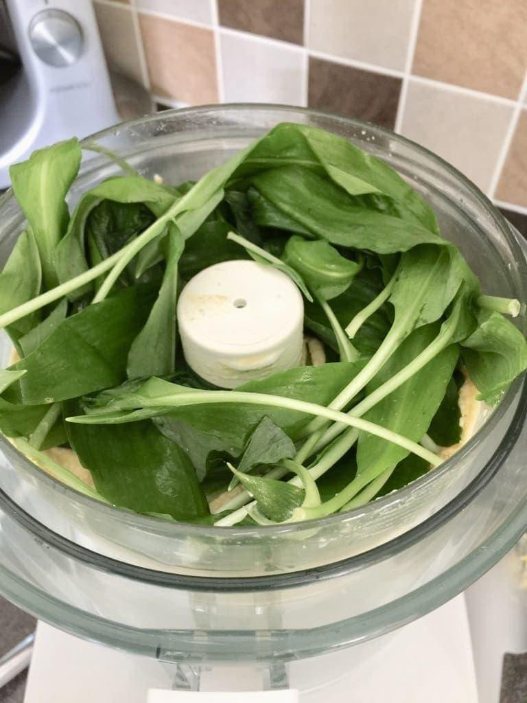 Wild garlic in a food processor