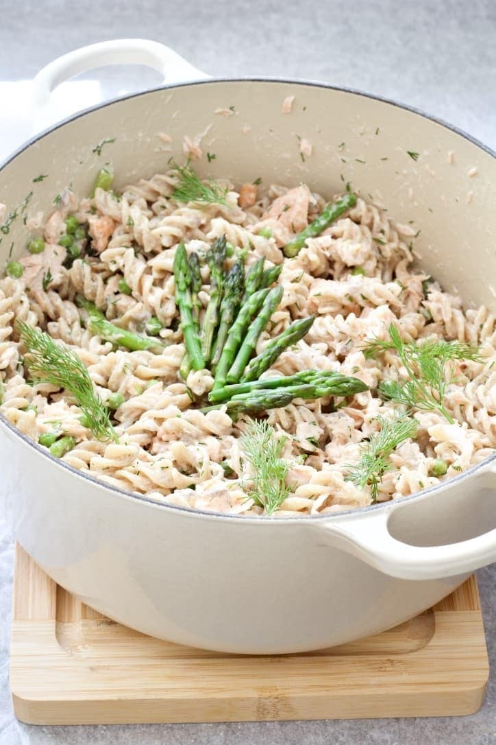 Pot with pasta, asparagus & dill.