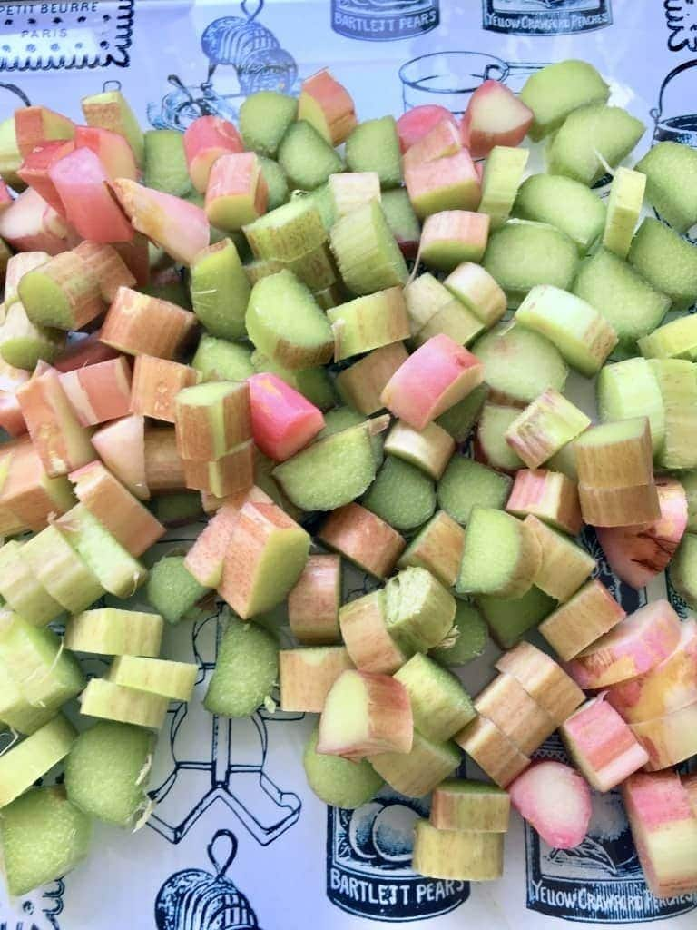 Chopped rhubarb pieces.