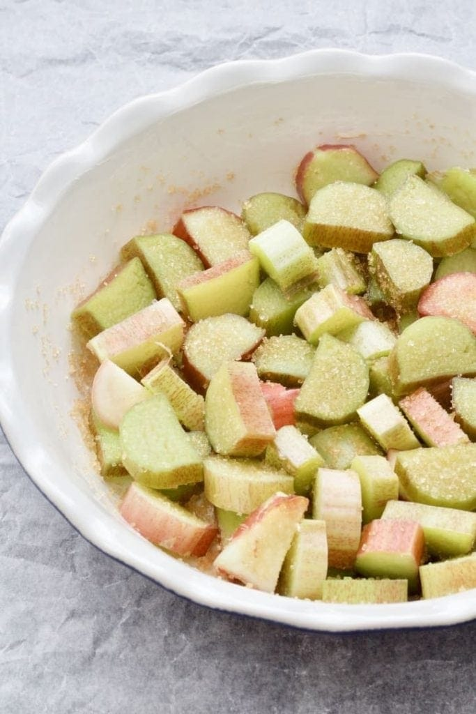 Rhubarb pieces in a dish.