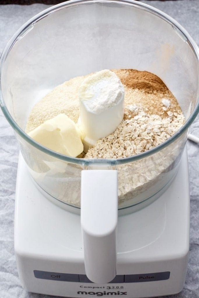 Crumble ingredients in the food processor.