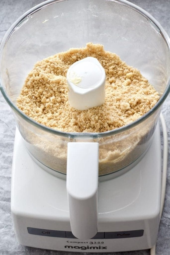 Crumble in the food processor.