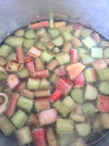 Rhubarb cooking in a pan.