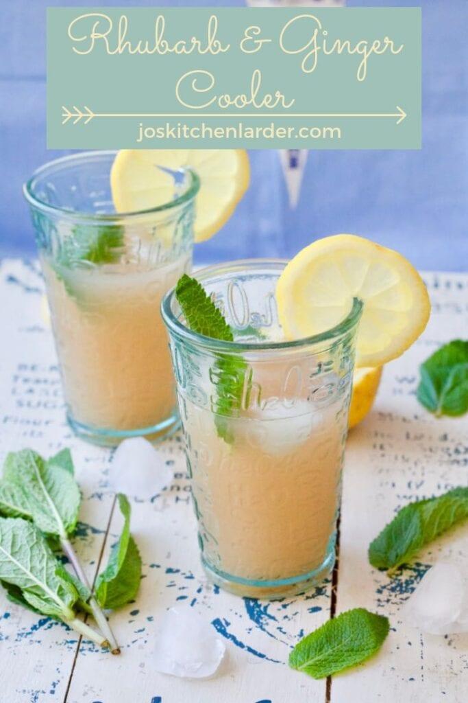 Rhubarb drink in 2 glasses.