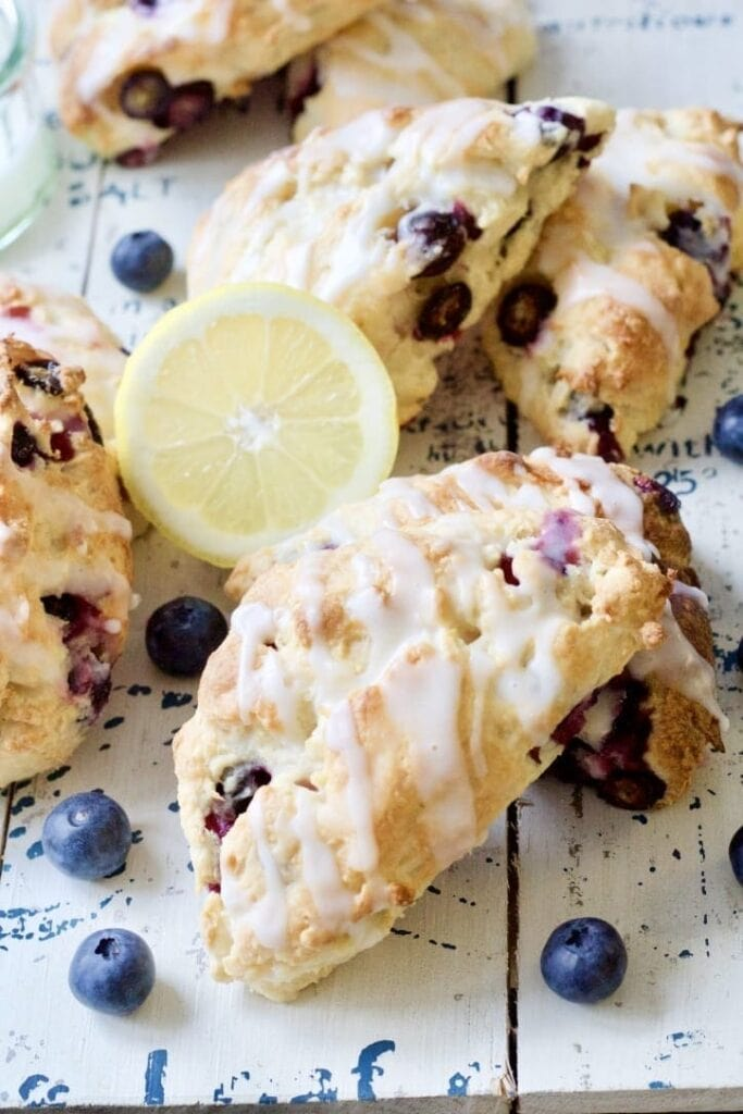 Blueberry scones with half a lemon.