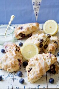 Blueberry Scones on a board.