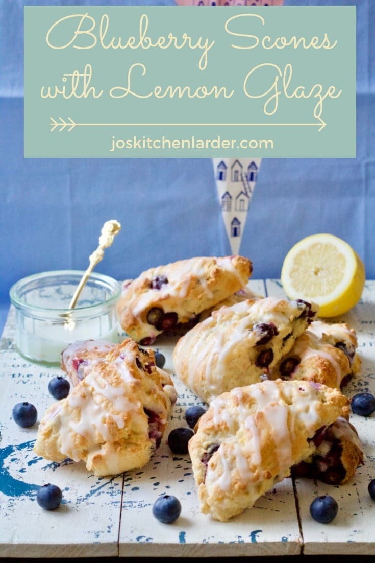 These American style Blueberry Scones with Lemon Glaze are perfect breakfast or afternoon treat combining delicate blueberry sweetness with lemony tanginess. #blueberryscones #breakfasttreat #americanstyle #lemonglaze #summerfood