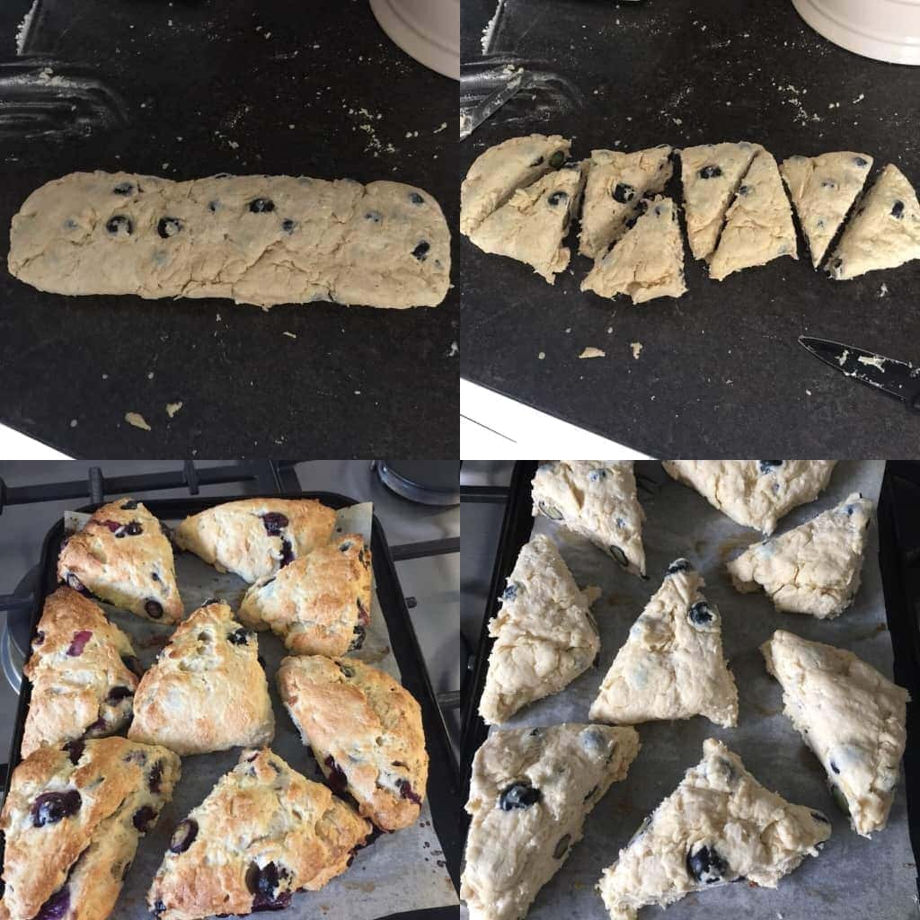 Blueberry scones in the making, shaping & baking.