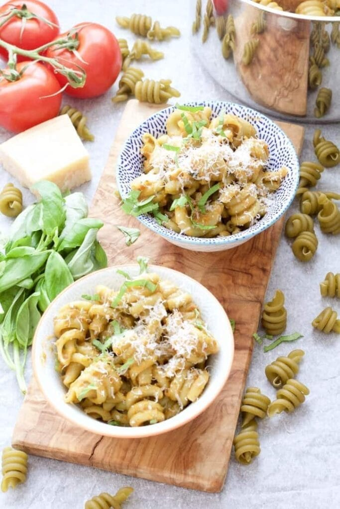 Roasted Tomato & Basil Pasta served in bowls.