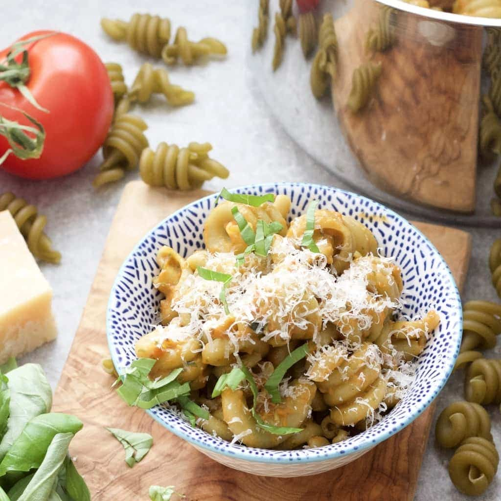 Close up of Roasted Tomato & Basil Pasta in a bowl.