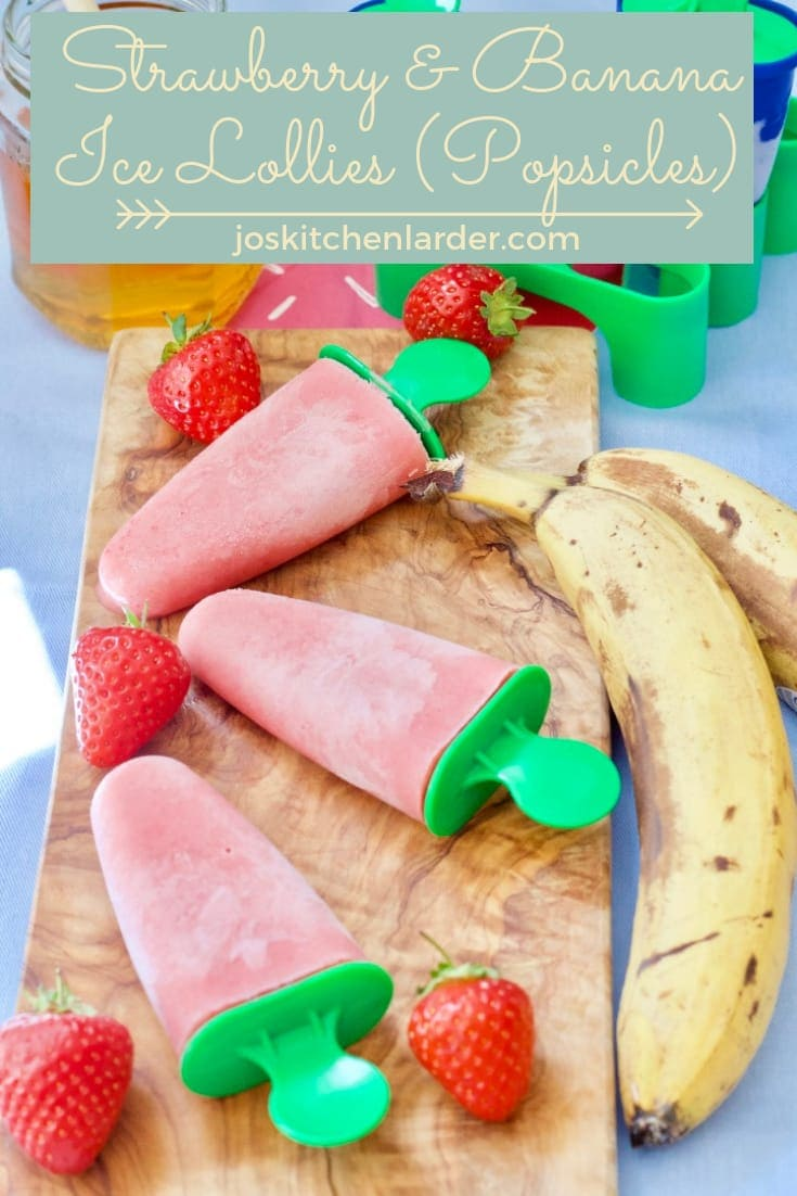 These Strawberry & Banana Ice Lollies (Popsicles) use seasonal strawberries, bananas, yogurt & touch of honey. Wholesome, refined sugar free & so delicious! #strawberryicelollies #bananaicelollies #yogurticelollies #popsicles #strawberrybananapopsicles #healthyicelollies #refinedsugarfreeicelollies