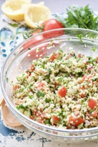 Tabbouleh salad in a bowl.