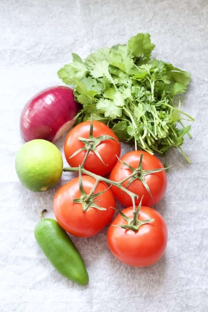 Ingredients for tomato salsa.
