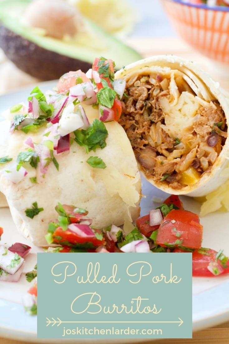 These Mexican Pulled Pork Burritos are perfect for using up leftover pulled pork to make it go that bit further. Really easy to make & adapt as per your liking, this recipe will become a staple & firm family favourite! #burritos #pulledporkburritos #mexican #porkburritos #pulledpork #leftoverporkburritos #easyrecipe #familyfavourite