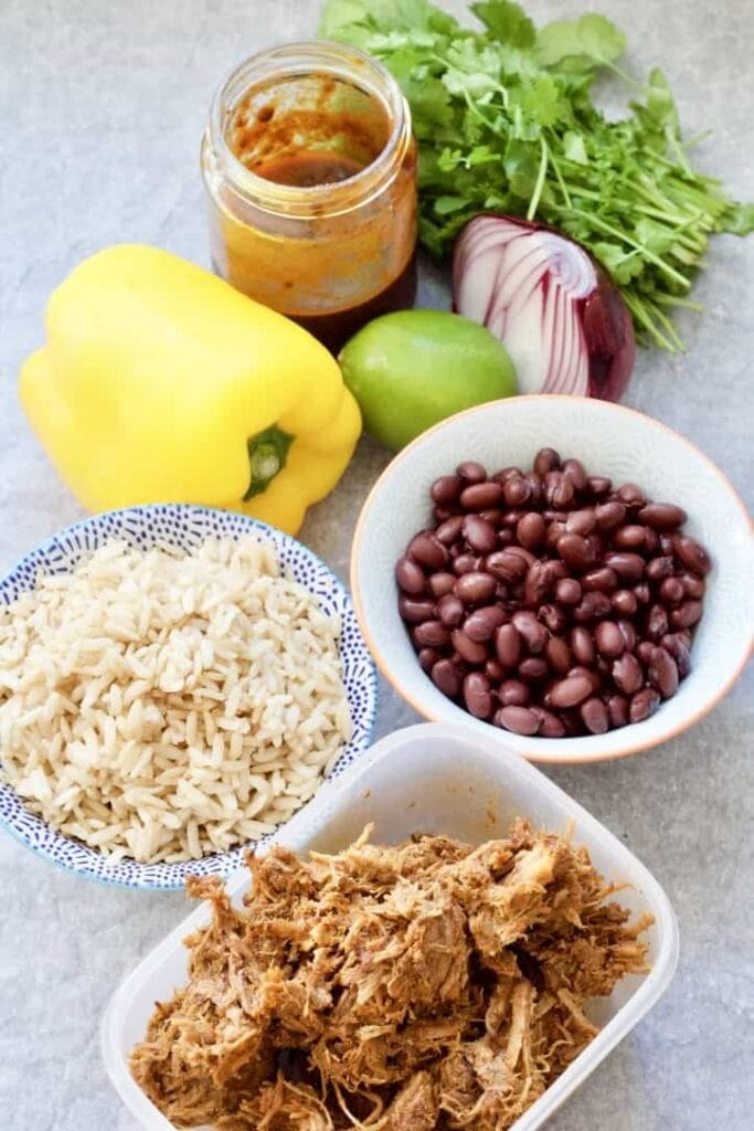 Ingredients for pulled pork burritos.