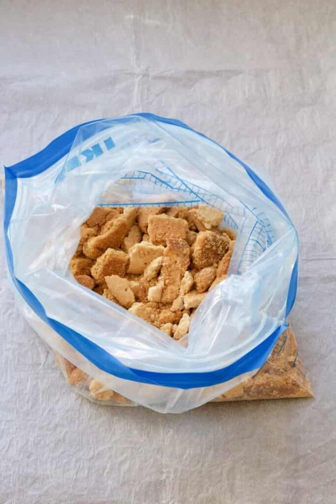 Biscuit pieces in a bag.